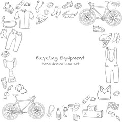 Bicycle equipment hand drawn set, doodle vector illustration of various stylized bicycle icons, bicycling equipment and accessories icons sketch collection, bicycling gear, cycling cloth and shoes