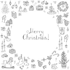 Set of hand drawn sketchy christmas elements Doodle vector illustration elements Candles gift boxes christmas tree wreath stocking candy canes cookie bells holly decoration calligraphy Merry Christmas