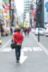 Blurred shopping in Seoul city street background