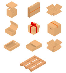 Set of isometric cardboard boxes and pallet