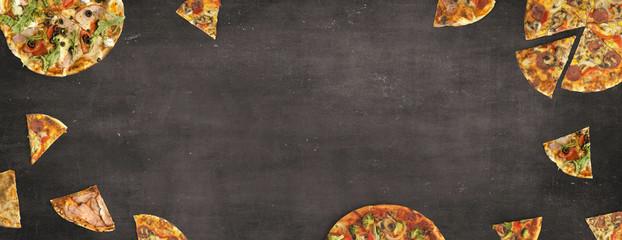 Pizza auf Schiefertafel - Hintergrund / Banner