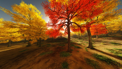 autumn forest landscape 3d illustration