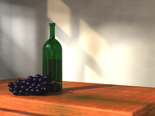 wine bottle and grape still life 3d illustration
