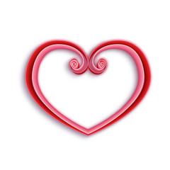 Quilling paper heart. Happy valentine day. Vector illustration