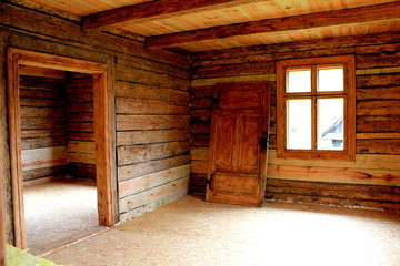 wooden room in the wood house