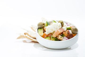 Greek Salad and Pita Chips