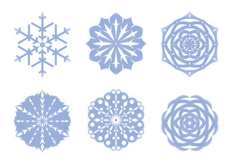 Blue snowflakes collection. Winter modern icons. Vector illustration