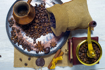 coffee on a copper plate