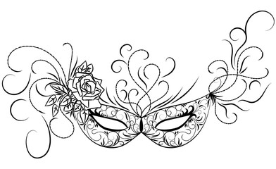 Sketch carnival mask. Black outline and decorated with beautiful patterns and flowers. Vector illustration.