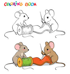 Coloring book or page. One mouse sewing needle, the other holding a spool of thread.