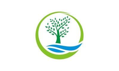green tree abstract ecology vector logo