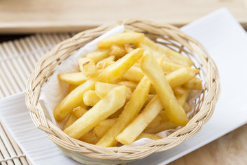Traditional French fries on the table