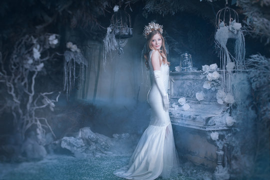 snow Queen in fairy forest
