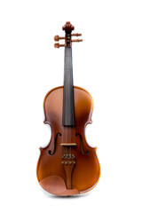 Close up of a violin on white background