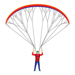 Man with a paraglider.