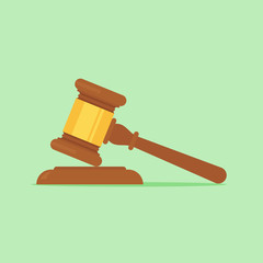 Judge gavel vector flat illustration