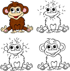 Cartoon monkey. Vector illustration. Coloring and dot to dot gam