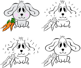 Cartoon hare with carrot. Vector illustration. Coloring and dot