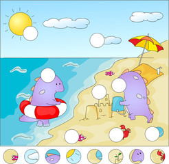Purple dragons on the beach: complete the puzzle and find the mi