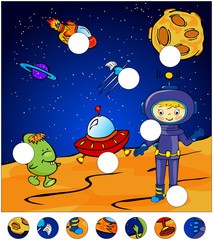 Aliens, astronaut and rocket standing on the surface of Mars. co