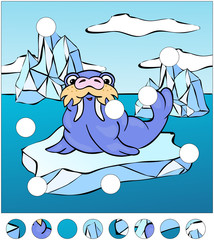 Cartoon walrus on an ice floe. complete the puzzle and find the