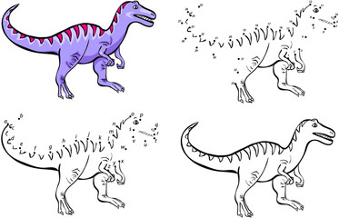 Cartoon tyrannosaur. Vector illustration. Coloring and dot to do