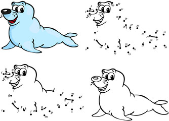 Cartoon seal. Vector illustration. Coloring and dot to dot game