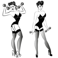 pin-up fitness girl with dumbells