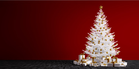 Interior background with white christmas tree 3d render