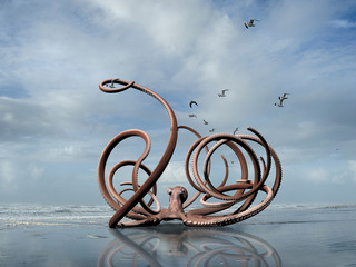 rendering of a monster octopus crawling out of the ocean onto a Washington coast beach.