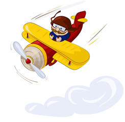 Cartoon character. Pilot flying by plane in the sky. Illustration, vector
