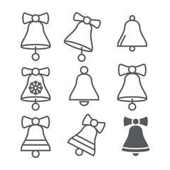 set of Christmas bell icons