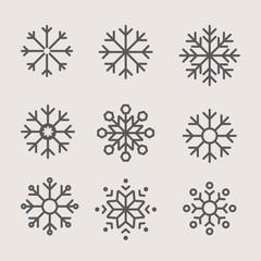 set of icon vector snowflakes