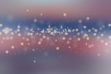 Beautiful bokeh made of blurred lights on blue background, Abstract defocused colorful blurred background.