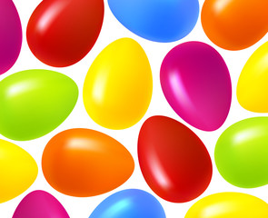 Festive Easter background. Multi-colored Easter eggs on a white background