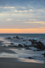 Sunset on the beach and the Pacific Ocean in Punta Sal, Peru