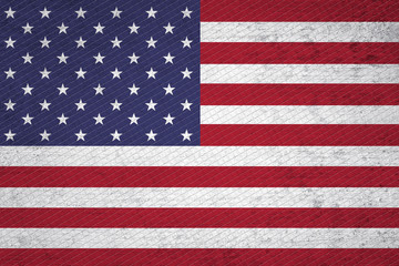 Mosaic grunge textured USA flag illustration. Grunge and mosaic effect used.