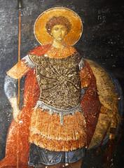 Ancient fresco with Saint Georgy in the Kariye Church in Istanbul,Turkey