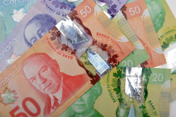 Canadian dollars Currency bank notes background