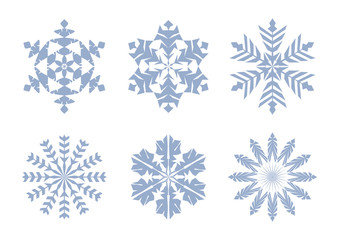 Blue snowflakes set in flat style. Winter modern icons. Vector illustration
