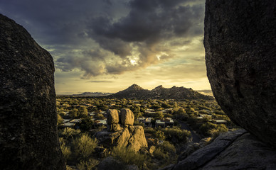 Golden hour Arizona landscape, Scottsdale, Phoenix area,USA