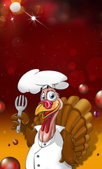 Turkey as a chef and festive glittering background