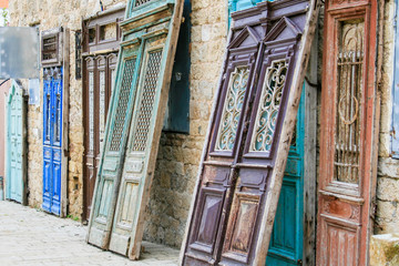 Ancient doors and door frames being restored, Jaffa (Japho or Jopa)