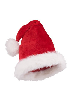 Santa hat with folded tip 3/4 view isolated on white