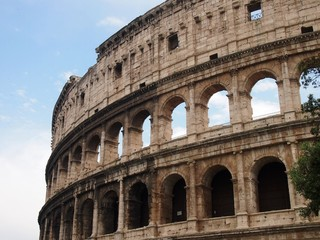 Close-up view of the gigantic Colosseum in Rome, Italy.
