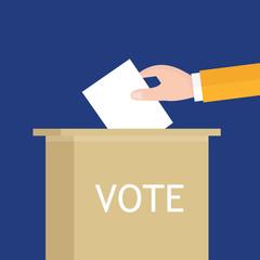 election hand holding ballot paper into box presidential parliament senator vector illustration