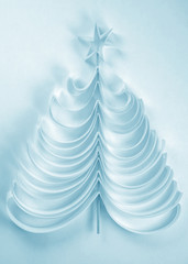 Christmas tree of paper-blue