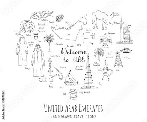 Hand Drawn Doodle UAE Set Vector Illustration Sketchy