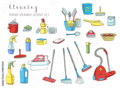 Hand drawn vector cleaning service icons set, Clean symbols