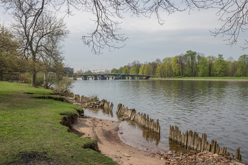 """View from the embankment of the river """"Average Nevka"""" toElagin Island. St. Petersburg."""